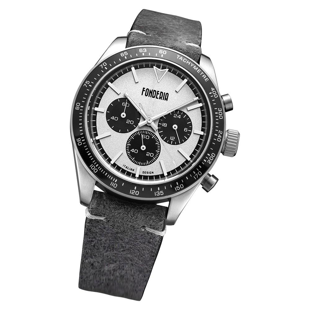 Fonderia Herren-Armbanduhr P-9A011USN Quarz Leder-Armband grau UAP9A011USN
