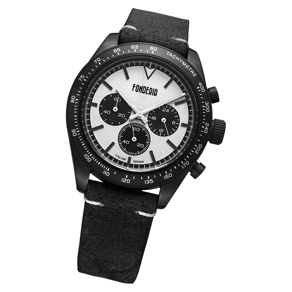 Fonderia Herren-Armbanduhr P-9N011USN Quarz Leder-Armband schwarz UAP9N011USN