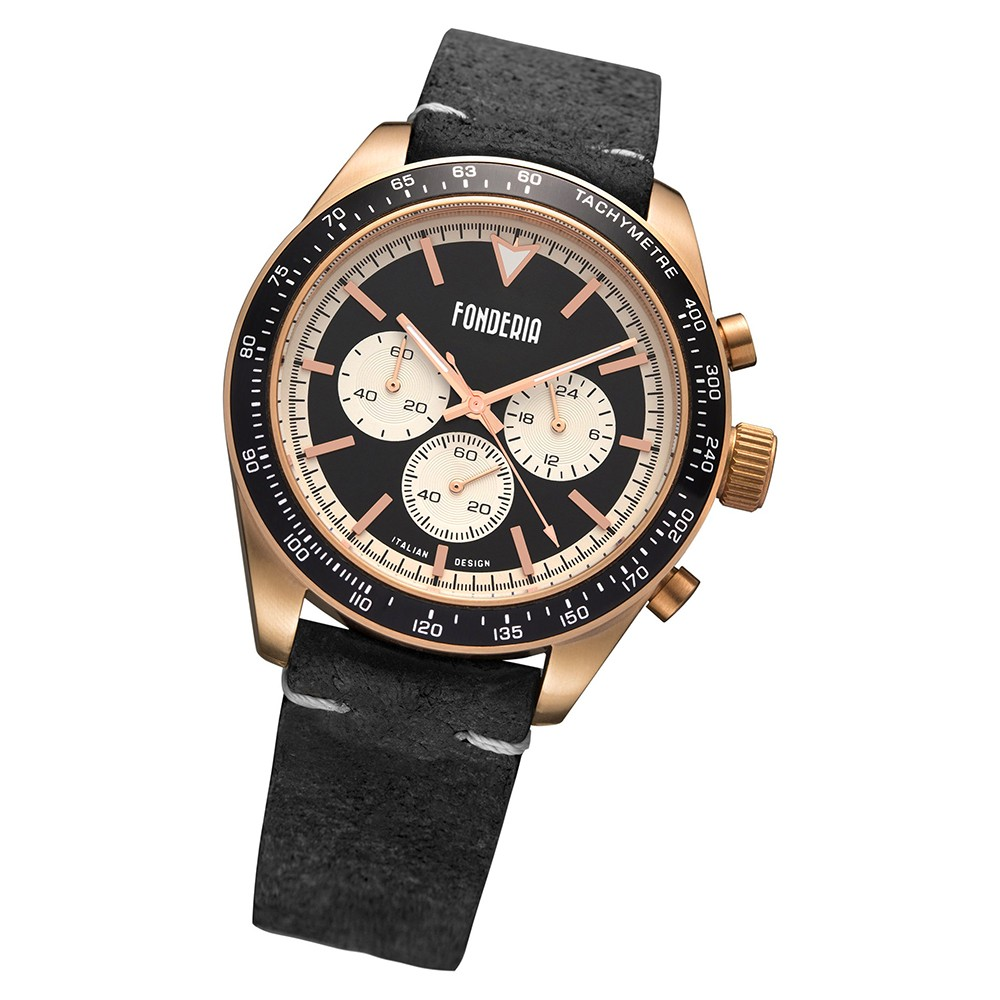 Fonderia Herren-Armbanduhr P-9R011UNW Quarz Leder-Armband schwarz UAP9R011UNW