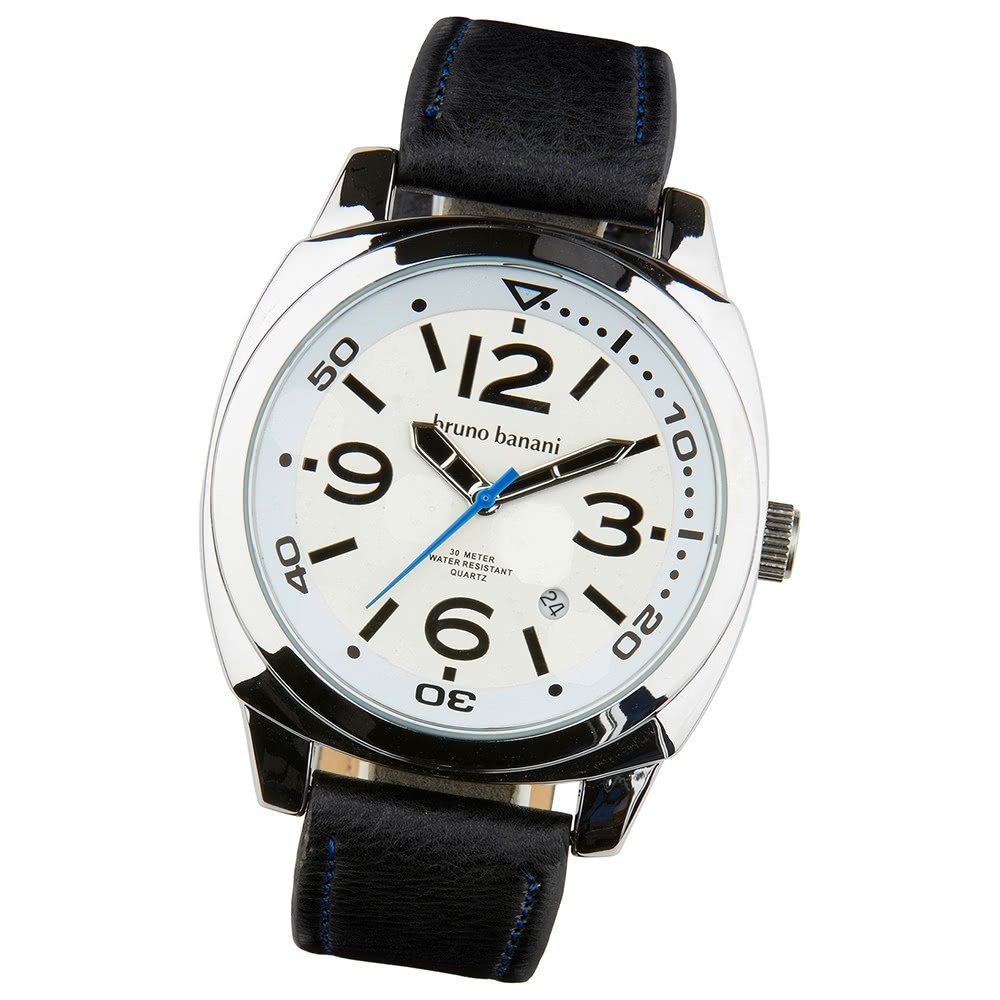 Bruno Banani Herren Armbanduhr Ketos Analog Leder-Armband schwarz UBR30016