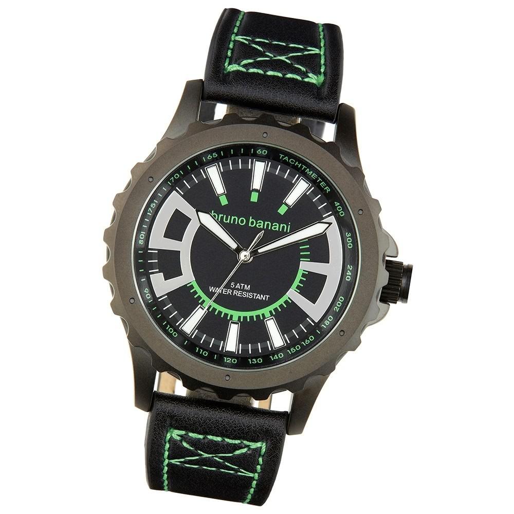 Bruno Banani Herren Armbanduhr Meros Analog Leder-Armband schwarz UBR30022