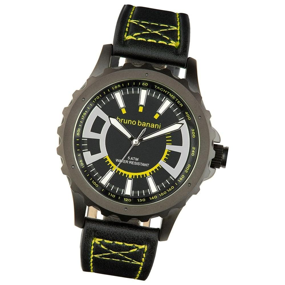 Bruno Banani Herren Armbanduhr Meros Analog Leder-Armband schwarz UBR30023