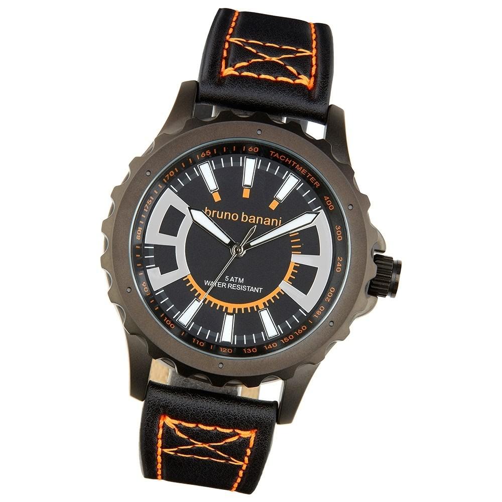 Bruno Banani Herren Armbanduhr Meros Analog Leder-Armband schwarz UBR30024