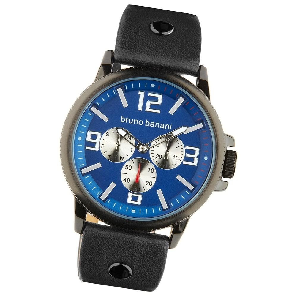 Bruno Banani Herren Armbanduhr Trenos Analog Leder-Armband blau UBR30031