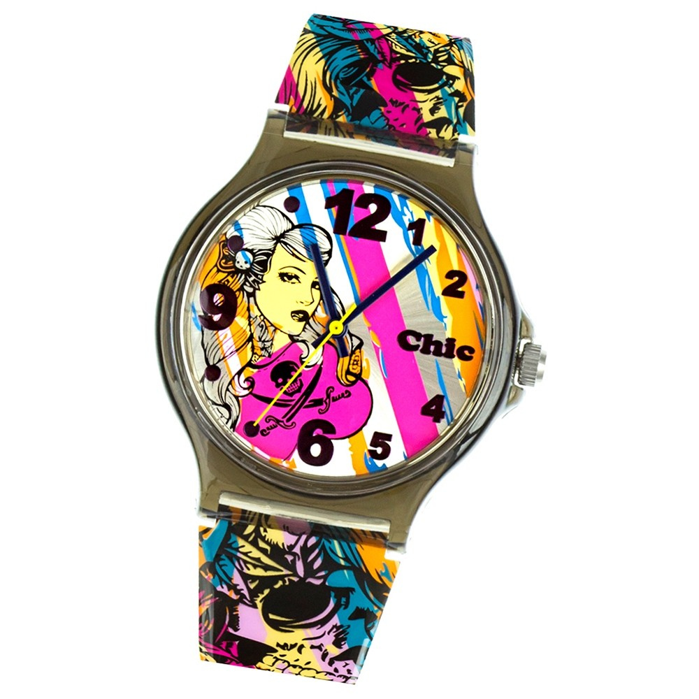Chic-Watches Damenuhr Rockabilly Punk Armbanduhr Chic Lady-Uhren UC009