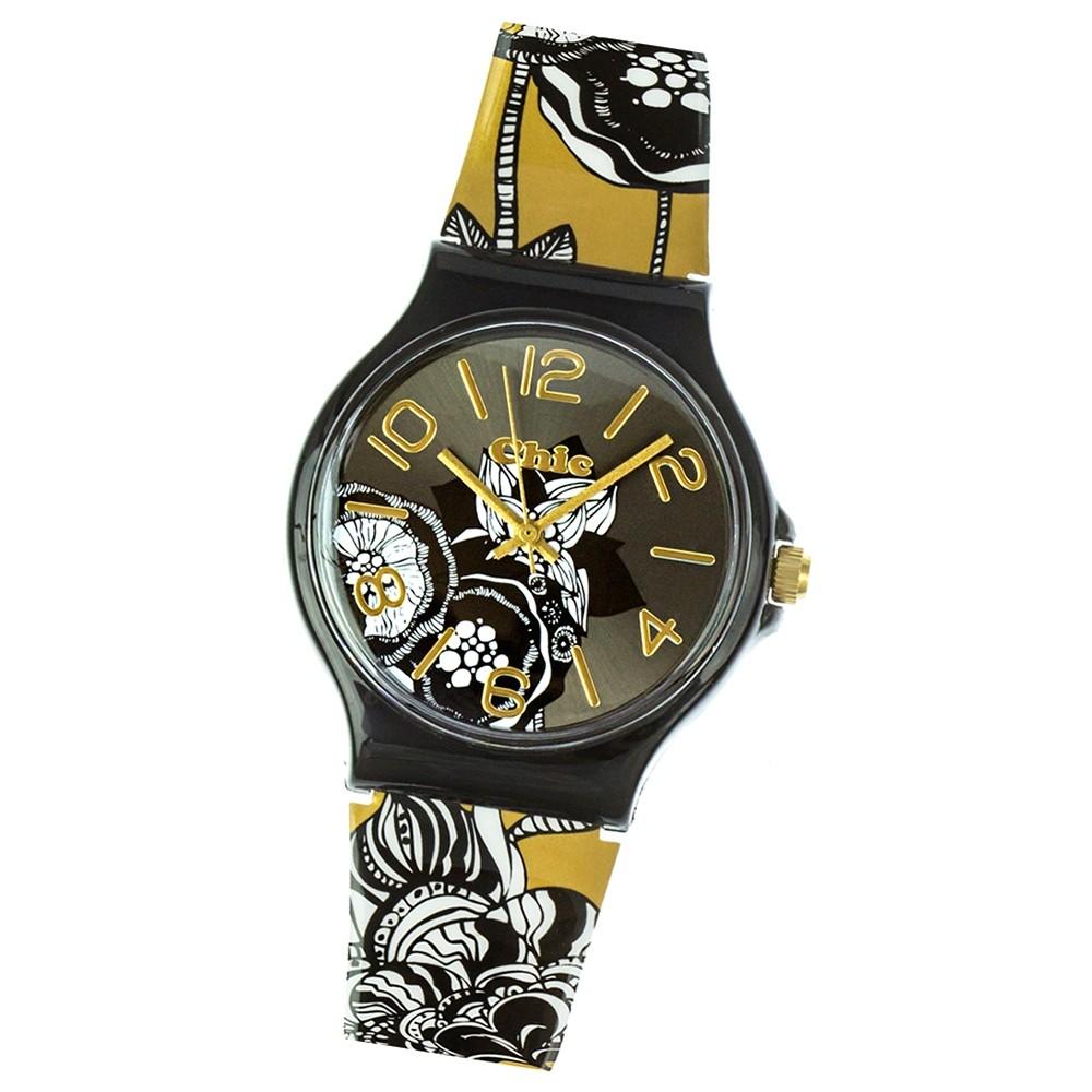 Chic-Watches Damenuhr Blumenwiese sepia Armbanduhr Chic Lady-Uhr UC015