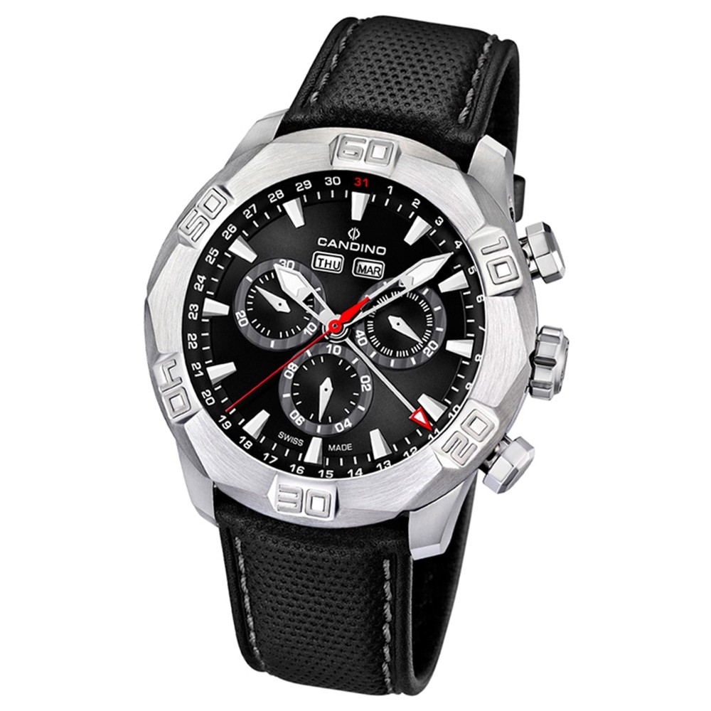 Candino Herren-Armbanduhr Performance Chronograph Quarz Leder UC4476/3