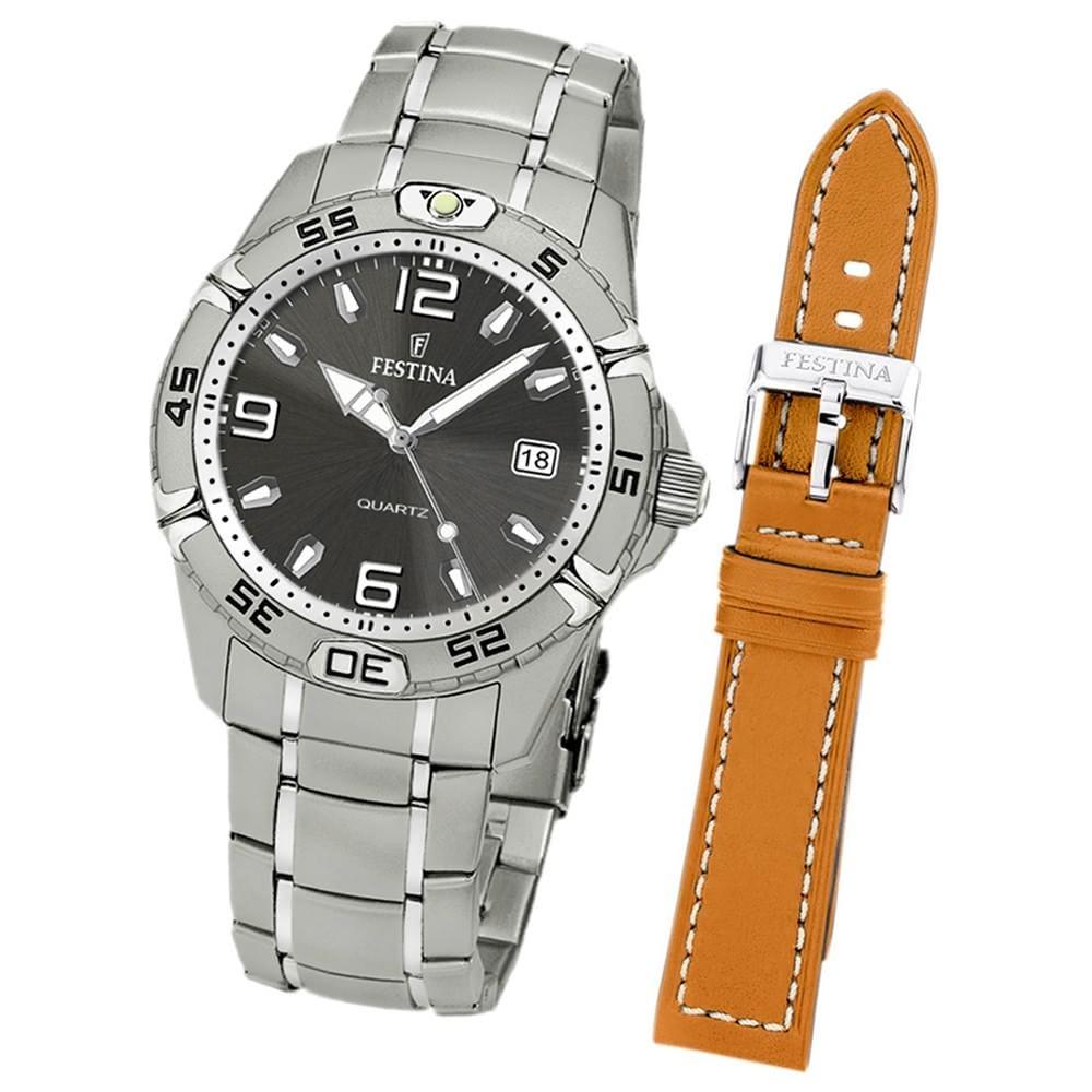FESTINA Herren-Armbanduhr analog Edelstahl Set-Uhr mit Wechselarmband UF16170/3