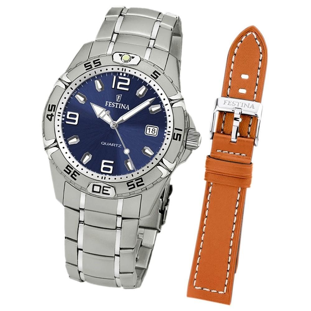 FESTINA Herrenuhr Quarzuhr Sport blau Set-Uhr mit Wechselarmband UF16170/4