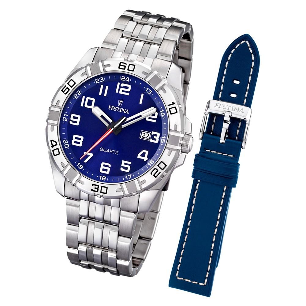 FESTINA Herren-Uhr Quarz Edelstahl Sport Set-Uhr mit Wechselarmband UF16495/3