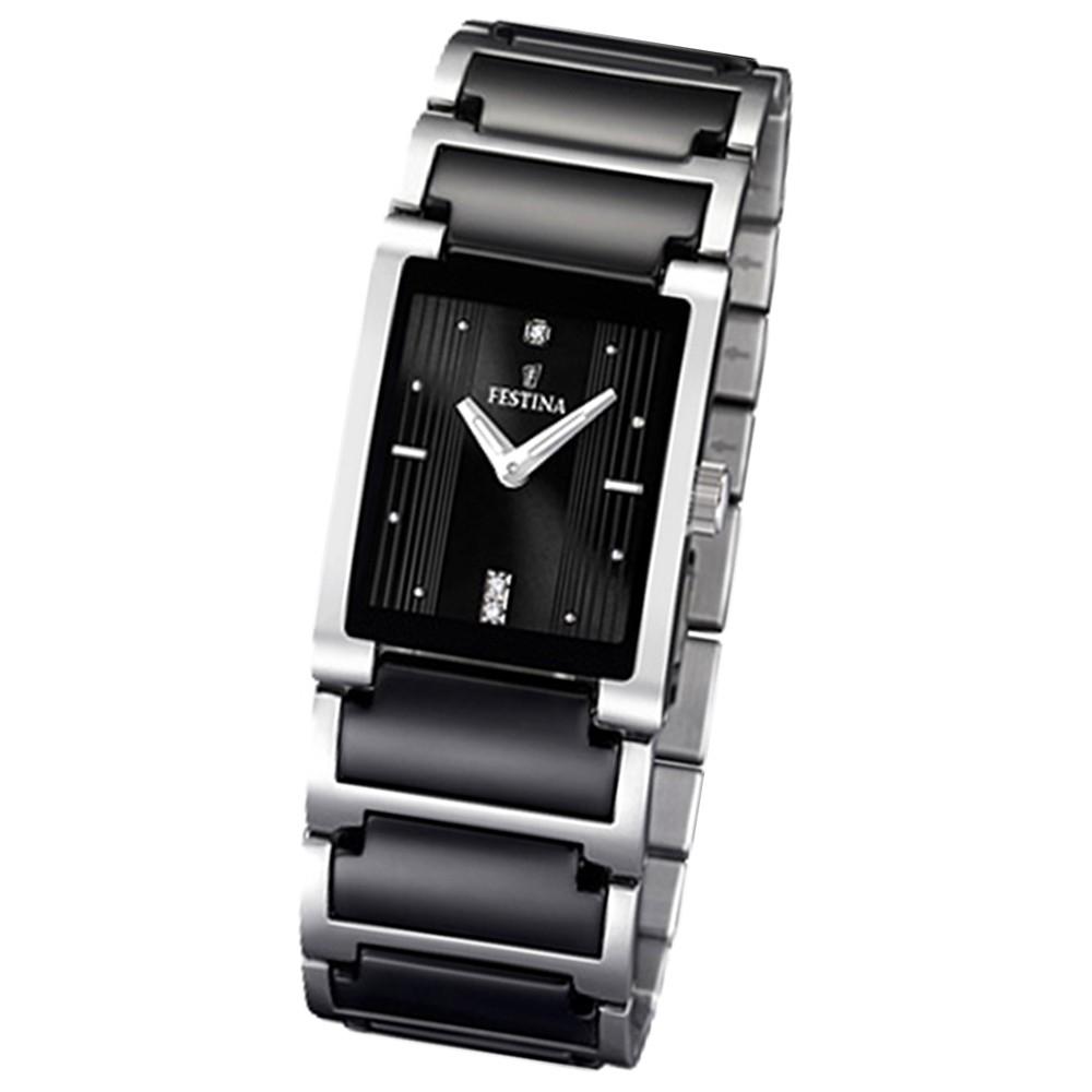 FESTINA Damen-Armbanduhr analog Quarz Edelstahl/Keramik UF16536/2