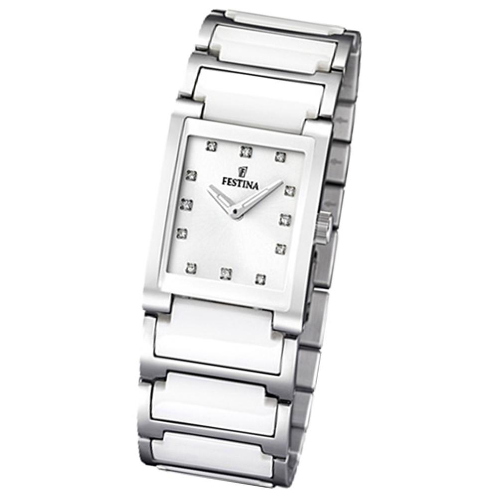 FESTINA Damen-Armbanduhr analog Quarz Edelstahl/Keramik UF16536/3