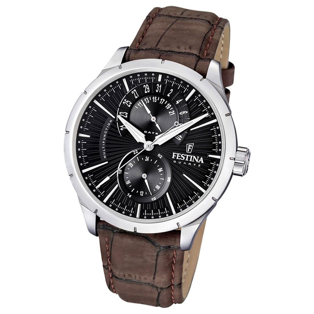 FESTINA Herrenuhr Multifunktionsuhr Quarzuhr Klassik schwarz Klassik Uhr UF16573/4