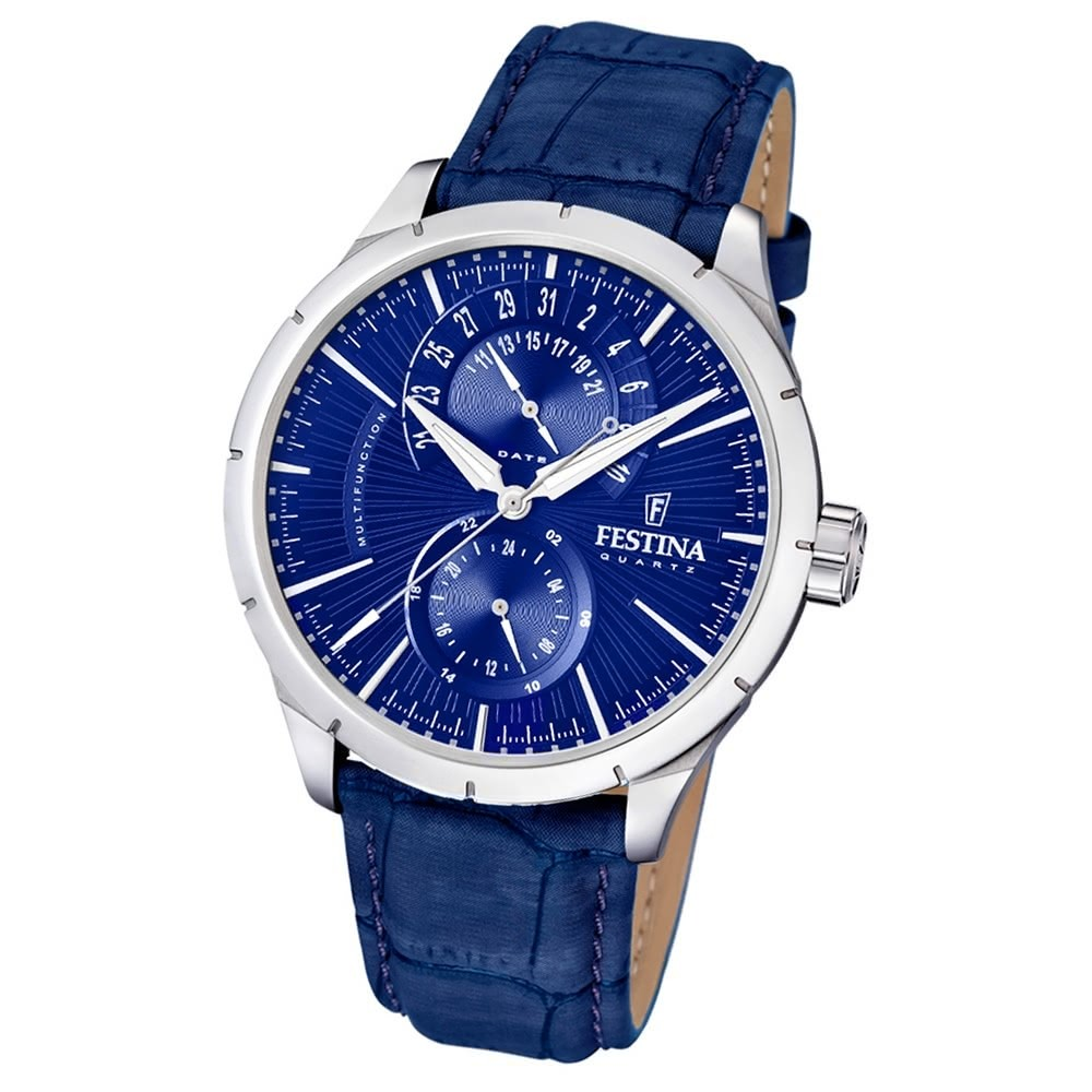 FESTINA Herren-Armbanduhr Retrograde F16573/7 Quarz Leder blau UF16573/7