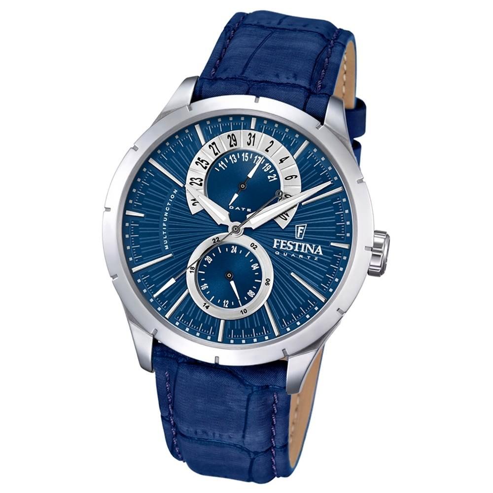 FESTINA Herren-Armbanduhr Retrograde F16573/A Quarz Leder blau UF16573/A