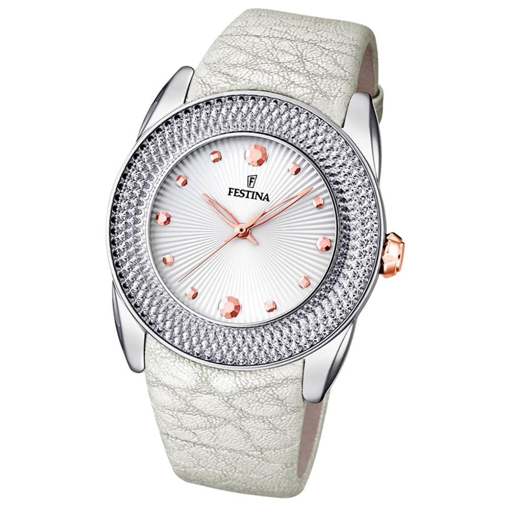 Festina Damen-Armbanduhr Dreamtime analog Quarz-Uhr Leder weiß UF16591/A