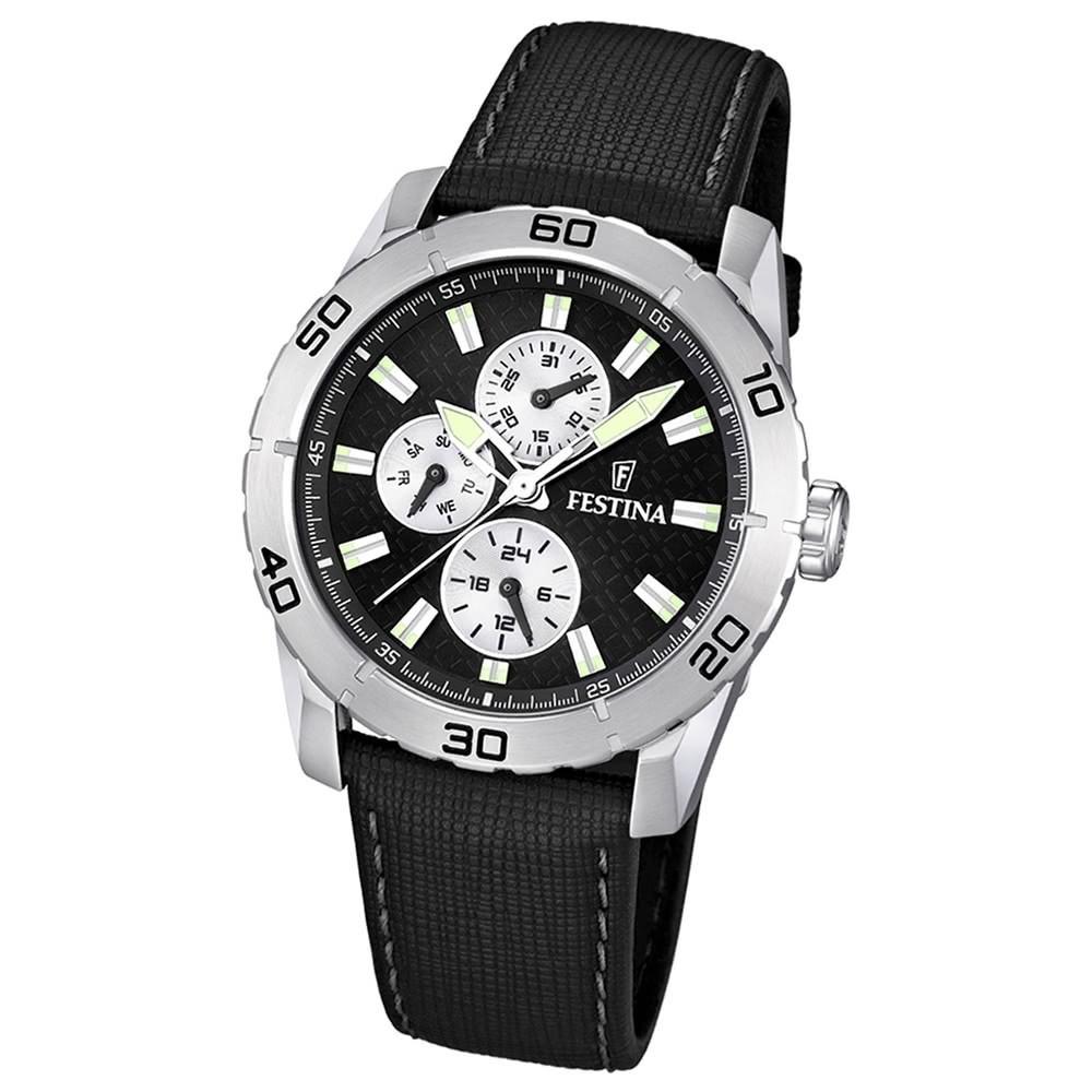 FESTINA Herren-Armbanduhr analog Quarz Leder Sport Uhr UF16607/3