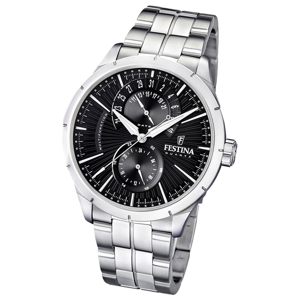 FESTINA Herrenuhr Multifunktionsuhr schwarz Klassik Uhren UF16632/4