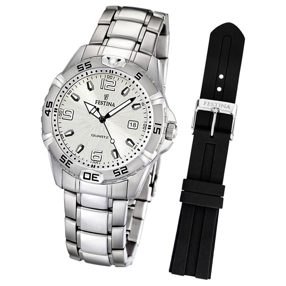 FESTINA Herrenuhr weiß Uhr Klassik Set-Uhr mit Wechselarmband UF16636/1
