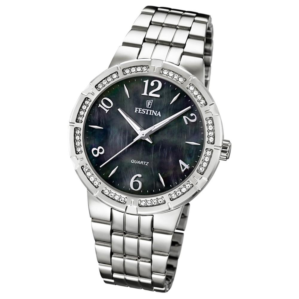 FESTINA Damenuhr Mademoiselle Quarz schwarz Edelstahlband Trend Uhren UF16703/2