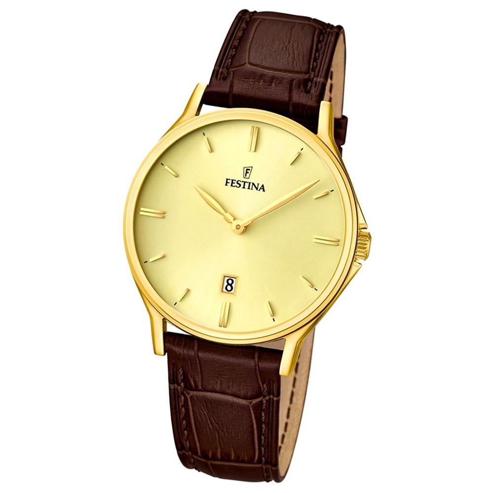 FESTINA Herren-Armbanduhr Klassik analog Quarz Leder UF16747/2