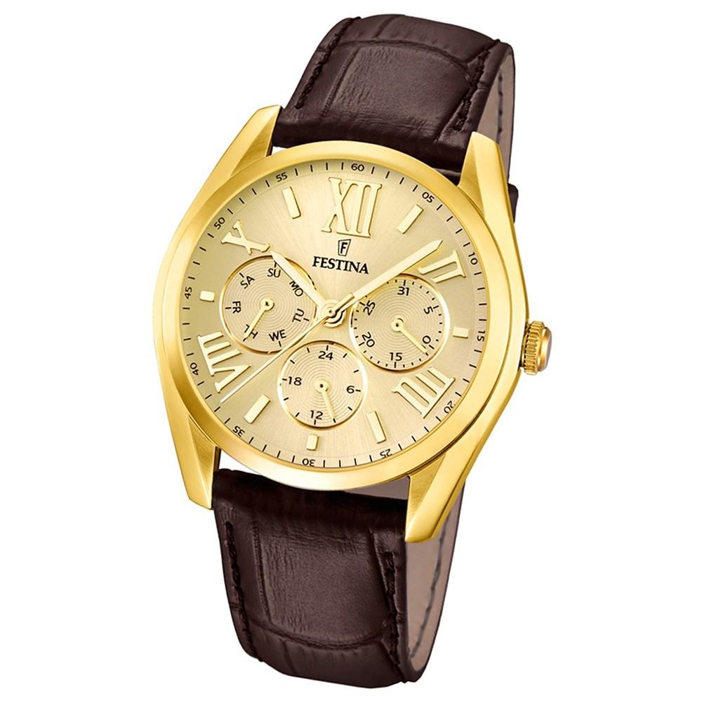 FESTINA Herren-Armbanduhr Klassik Multifunktion analog Quarz Leder UF16753/2