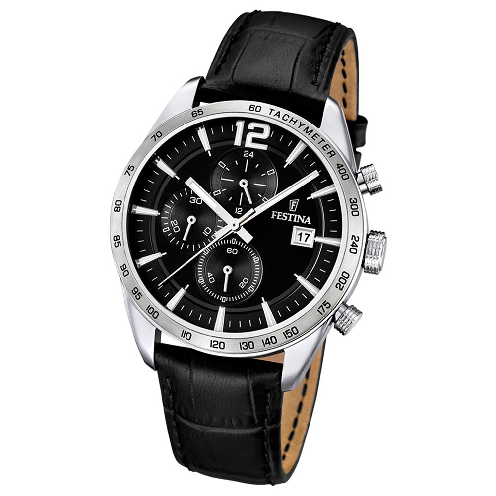 FESTINA Herren-Armbanduhr Sport Chronograph analog Quarz Leder UF16760/4