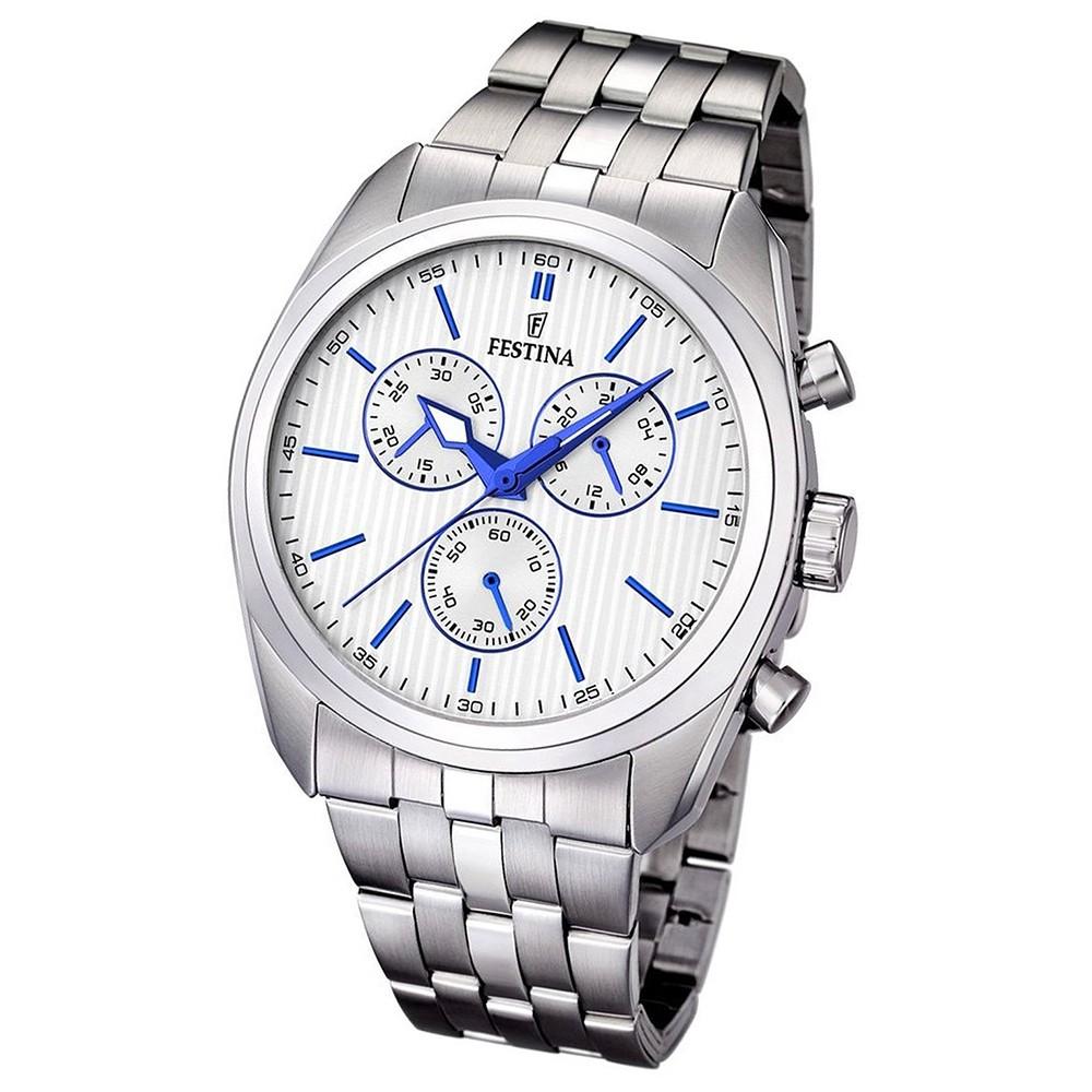 FESTINA Herren-Armbanduhr Chronograph Quarz Edelstahl silber Sport UF16778/2