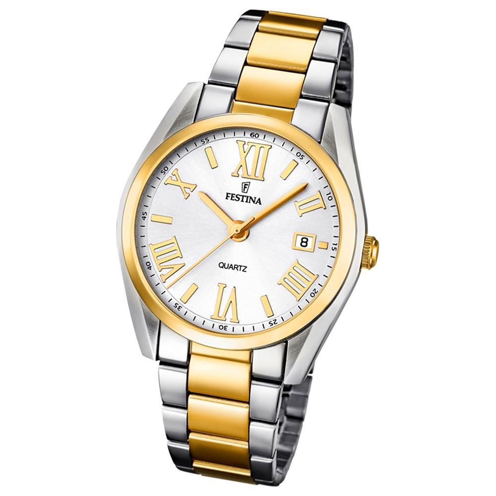 FESTINA Damen-Armbanduhr Boyfriend analog Quarz Edelstahl, PVD Gold UF16794/1