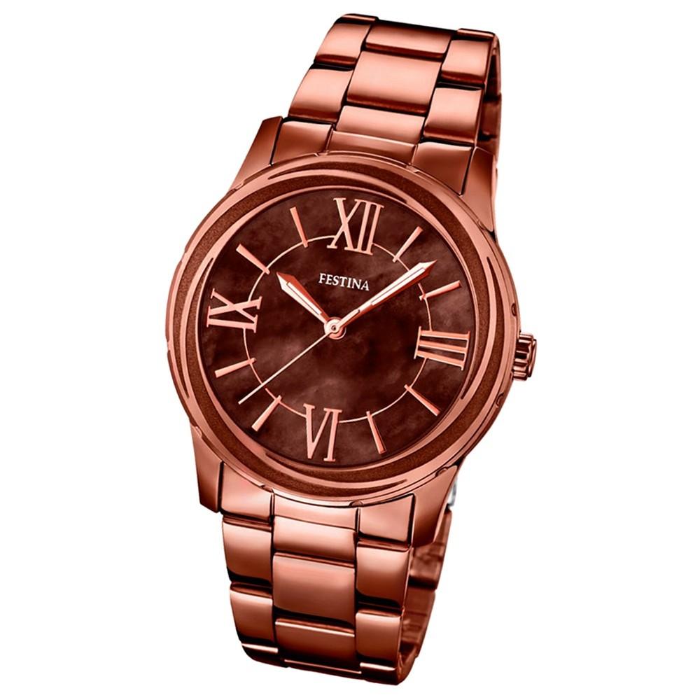 FESTINA Damen-Armbanduhr Mademoiselle Analog Quarz Edelstahl braun UF16799/1