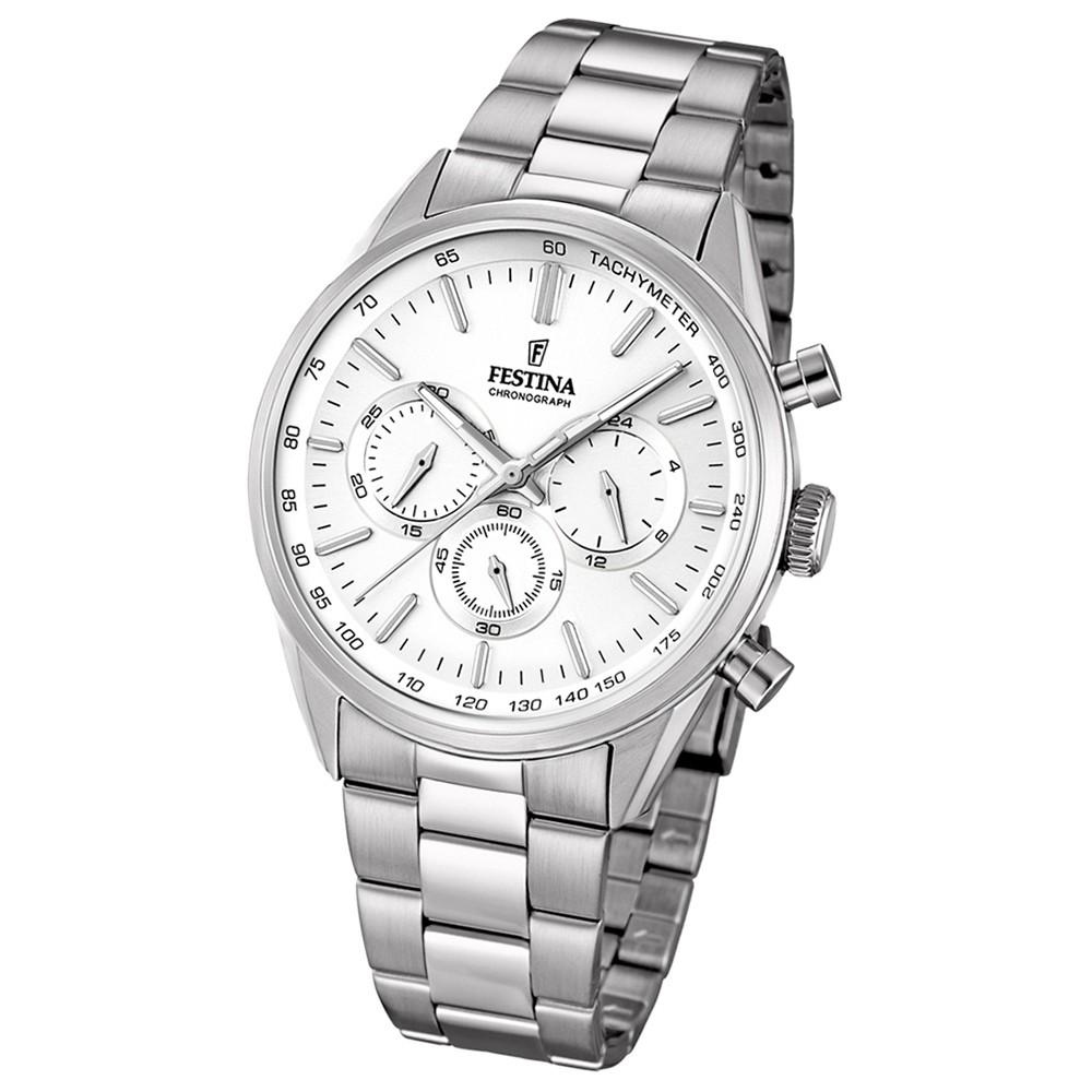 FESTINA Herren-Armbanduhr Timeless Chronograph Quarz Edelstahl silber UF16820/1