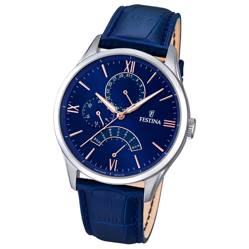 FESTINA Herren-Armbanduhr Retrograde Analog Quarz Leder blau UF16823/3