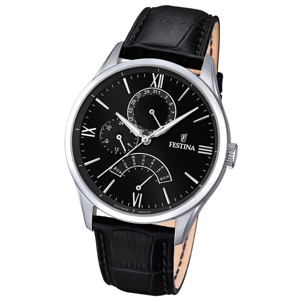 FESTINA Herren-Armbanduhr Retrograde Analog Quarz Leder schwarz UF16823/4