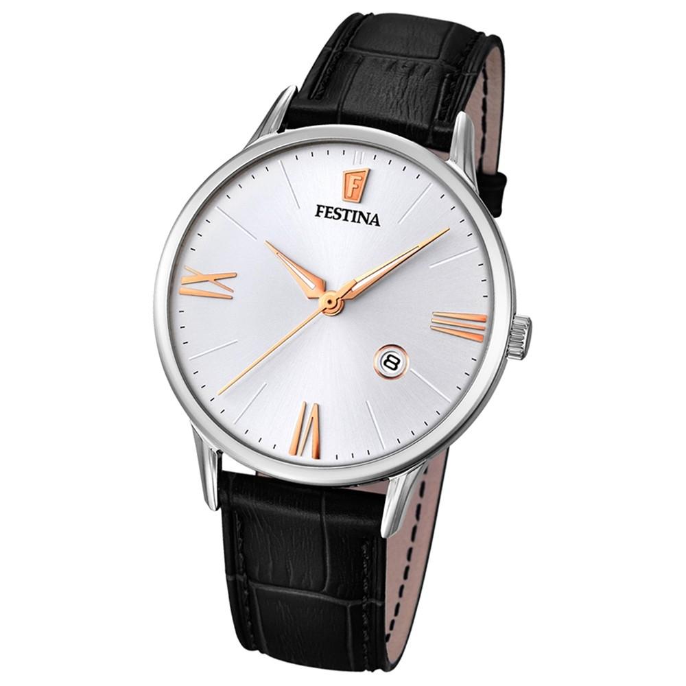 FESTINA Herren-Armbanduhr Lederband klassisch Analog Quarz schwarz UF16824/2