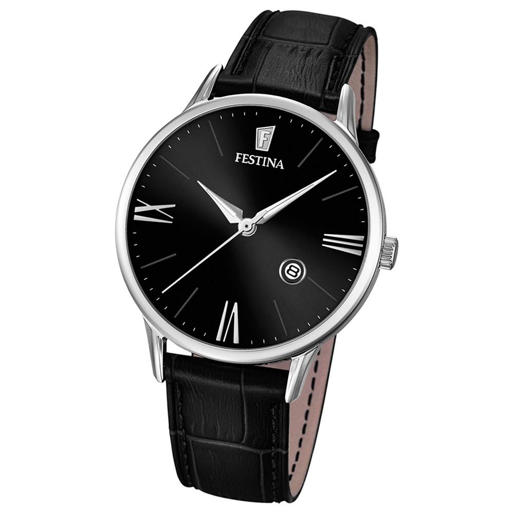 FESTINA Herren-Armbanduhr Klassik Analog Quarz Leder schwarz UF16824/4