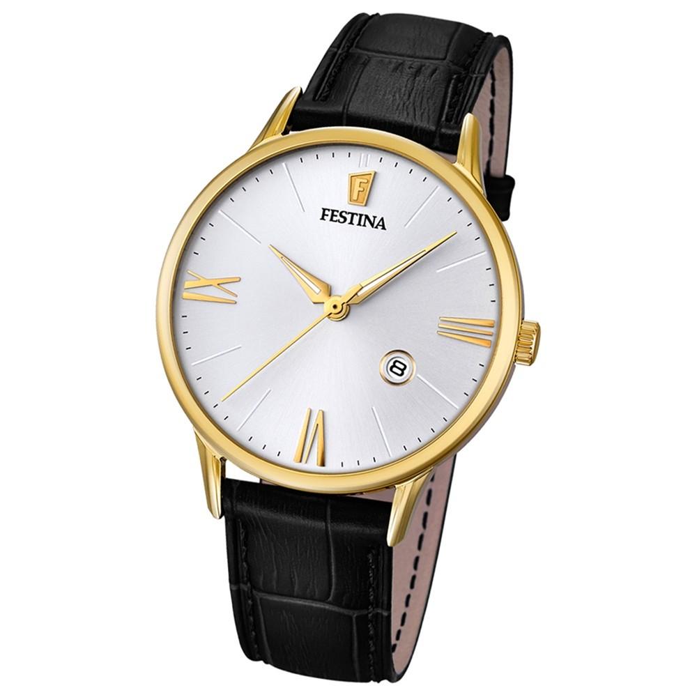 FESTINA Herren-Armbanduhr Lederband klassisch Analog Quarz schwarz UF16825/1