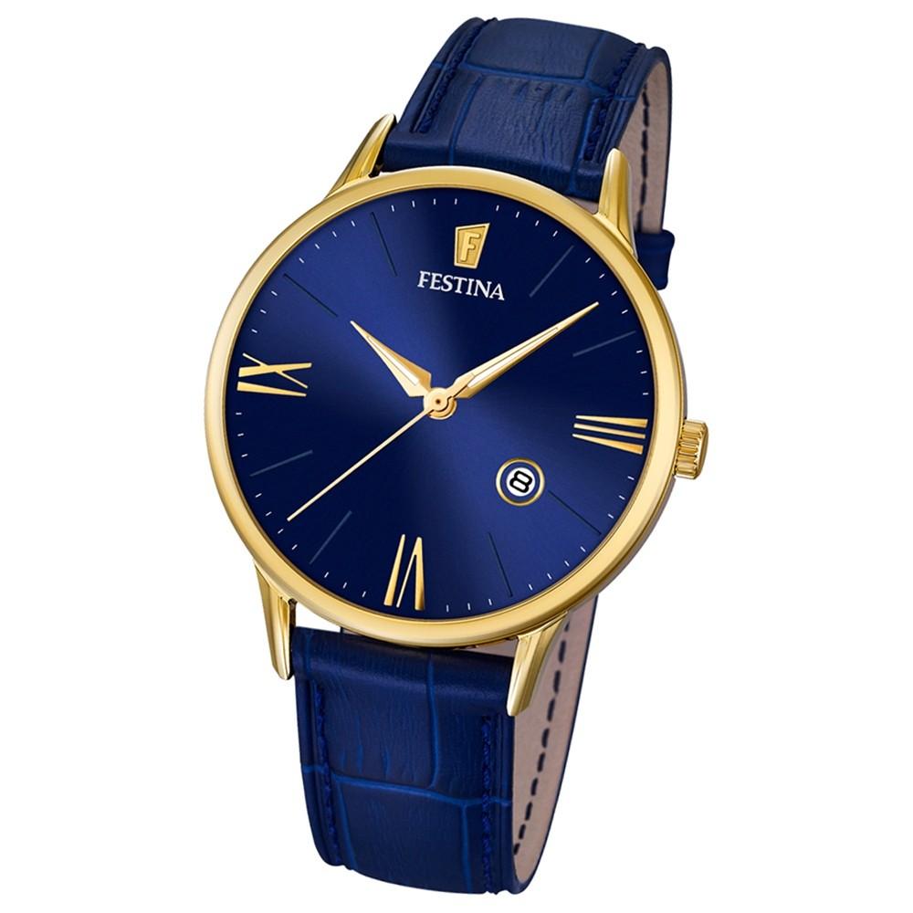 FESTINA Herren-Armbanduhr Lederband klassisch Analog Quarz blau UF16825/3