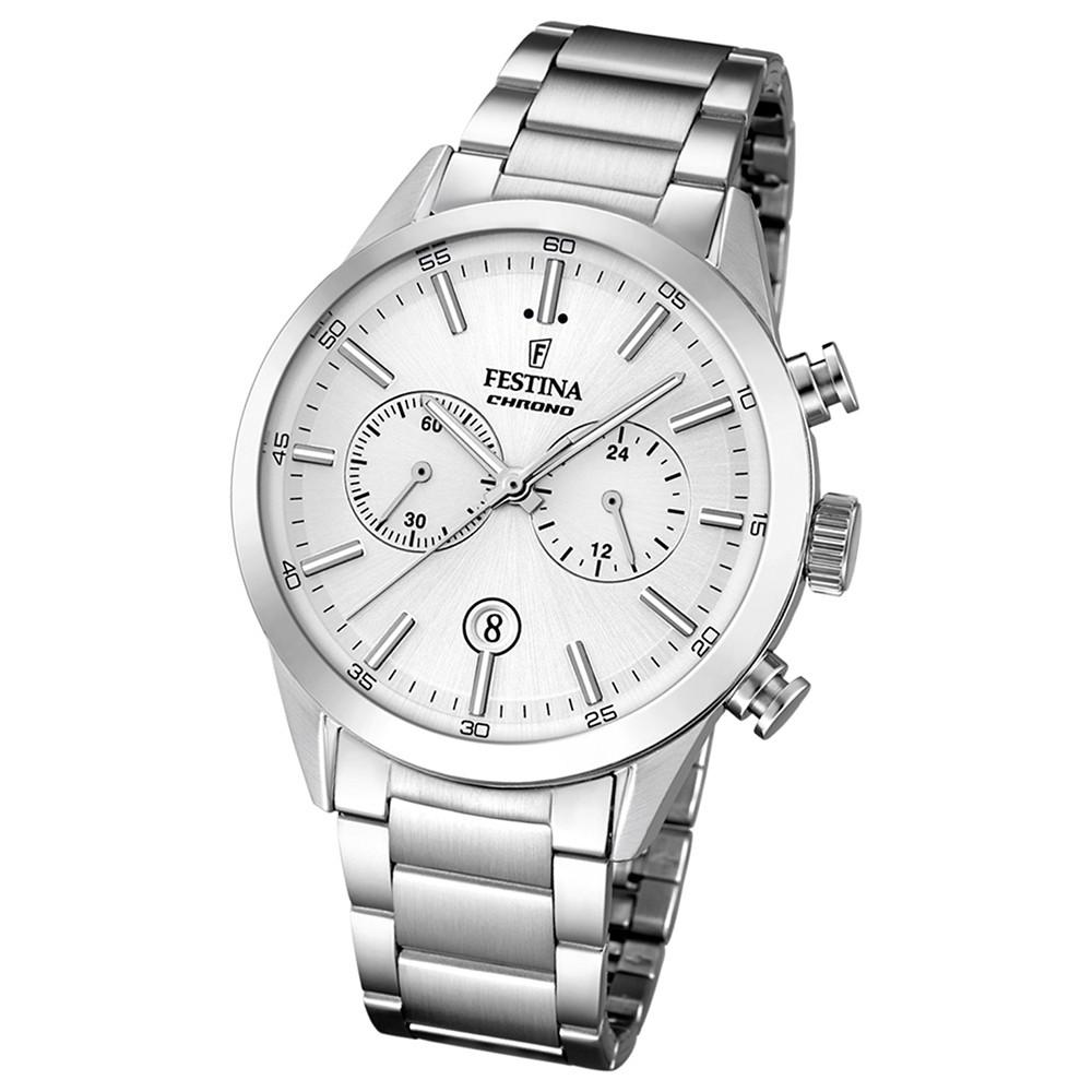 FESTINA Herren-Armbanduhr Sport Chronograph Quarz Edelstahl silber UF16826/1