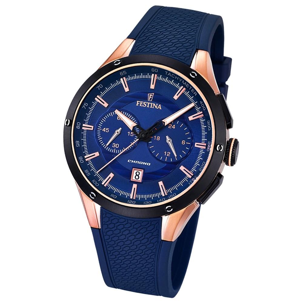 FESTINA Herren-Armbanduhr Chronograph Sport Analog Quarz PU blau UF16831/1