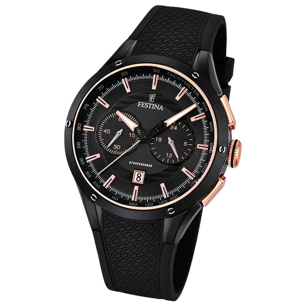 FESTINA Herren-Armbanduhr Sport Chronograph Analog Quarz PU schwarz UF16833/2