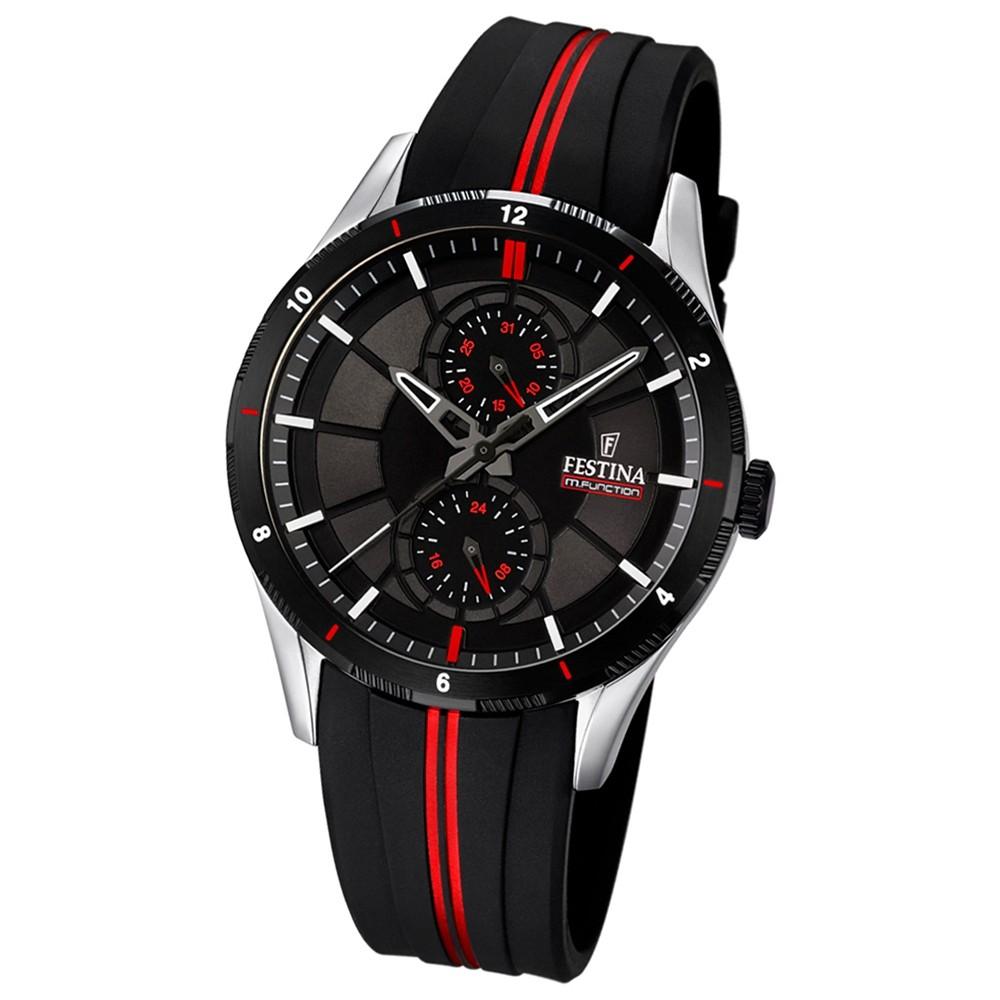 FESTINA Herren-Armbanduhr Analog Quarz Silikon schwarz, rot UF16841/2