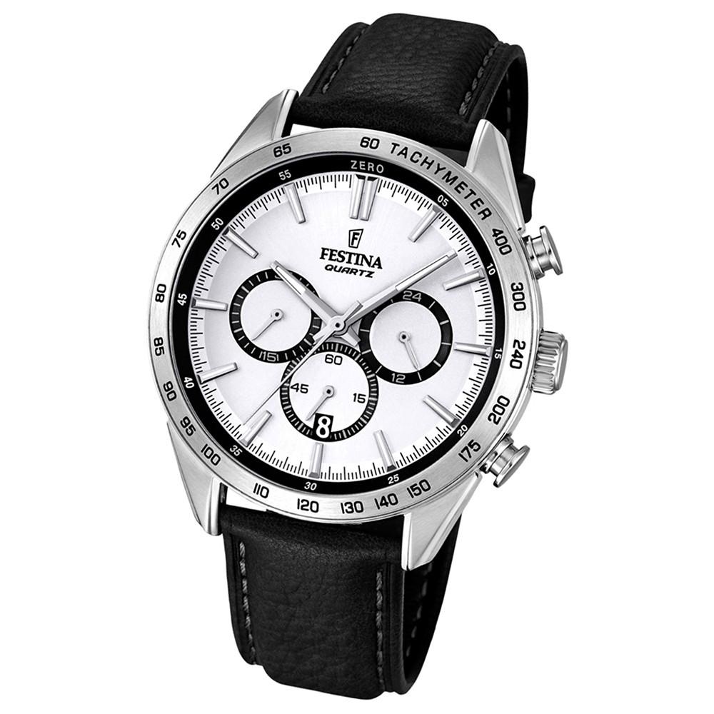 FESTINA Herren-Armbanduhr Analog Quarz Leder schwarz UF16844/1