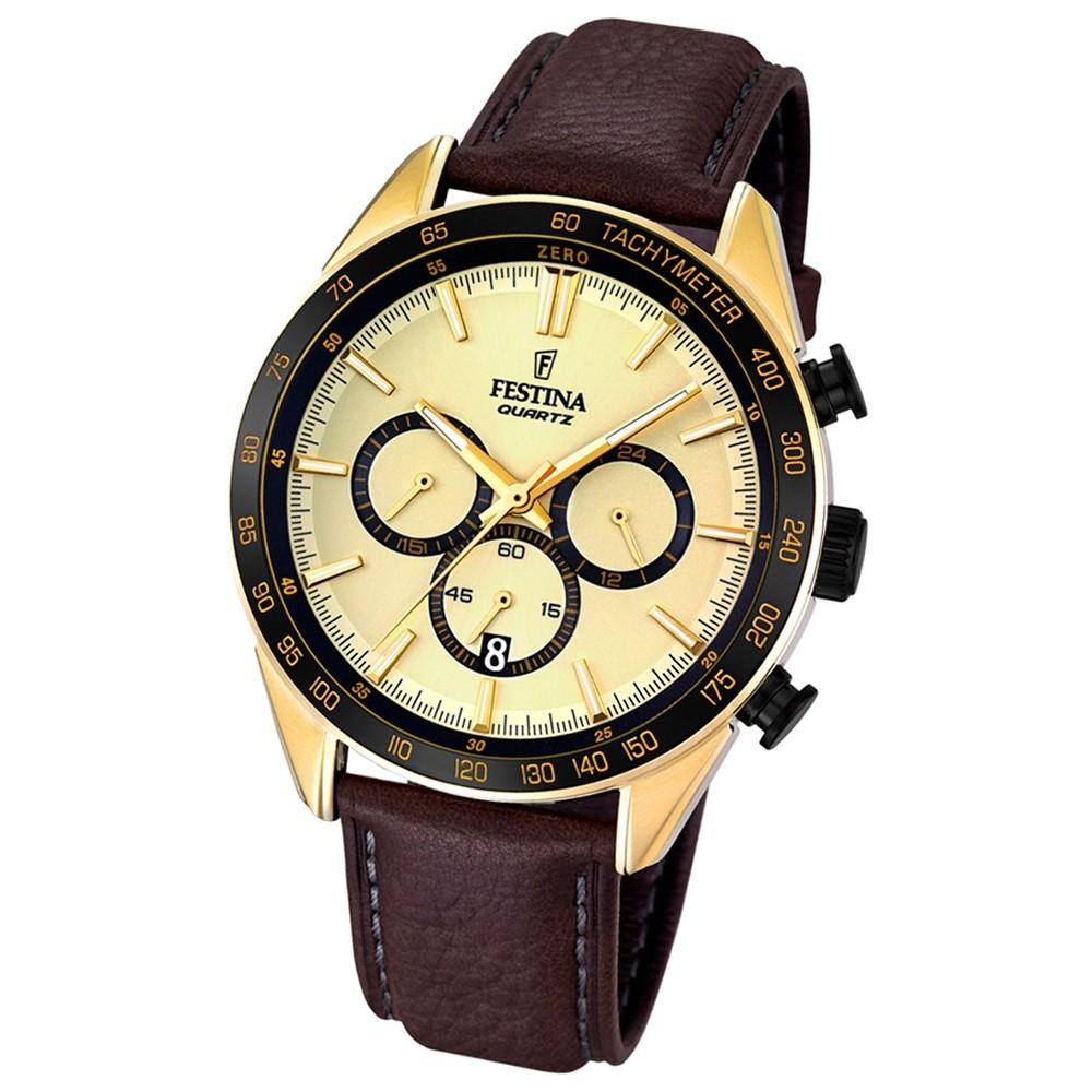 FESTINA Herren-Armbanduhr Timeless Chronograph Quarz Leder braun UF16845/1