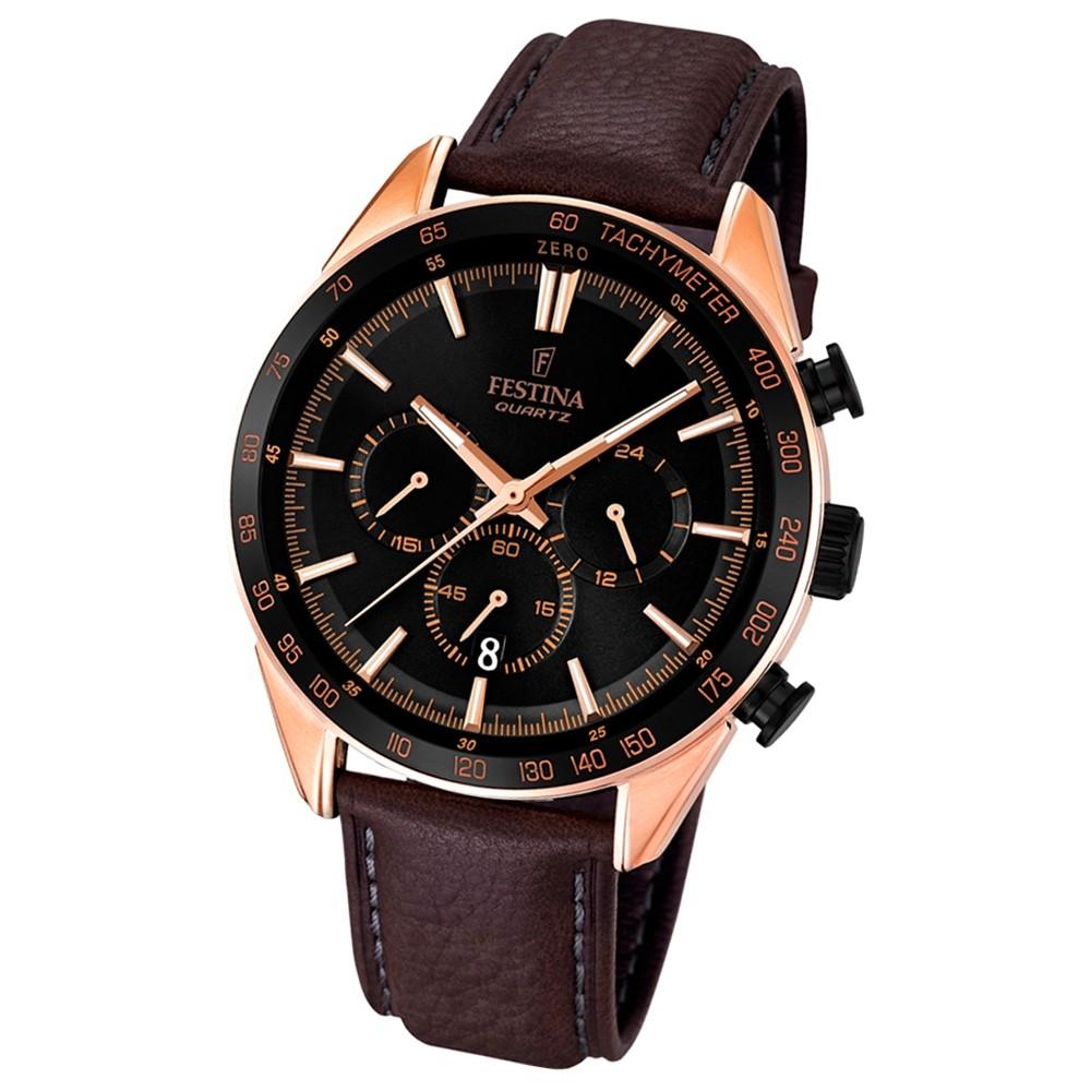 FESTINA Herren-Armbanduhr Timeless Chronograph Quarz Leder braun UF16846/1