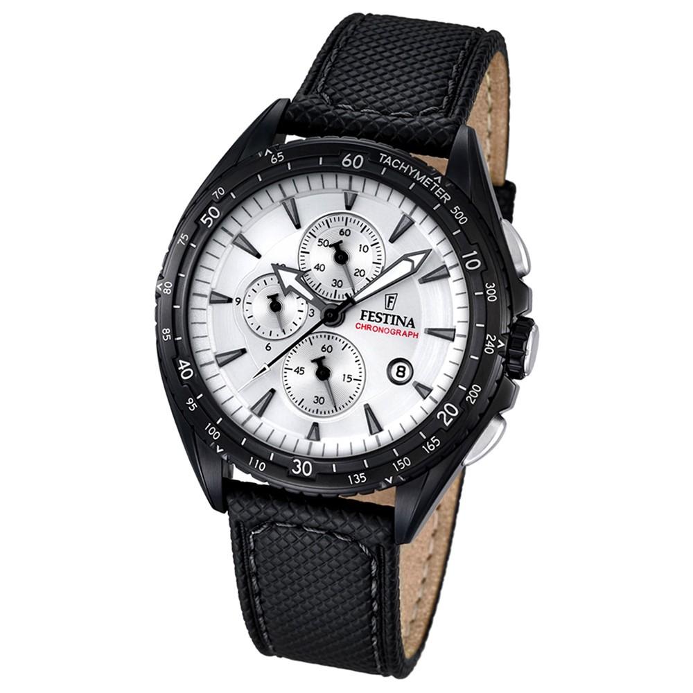 FESTINA Herren-Uhr Sport Analog Quarz Leder schwarz Chronograph UF16847/1