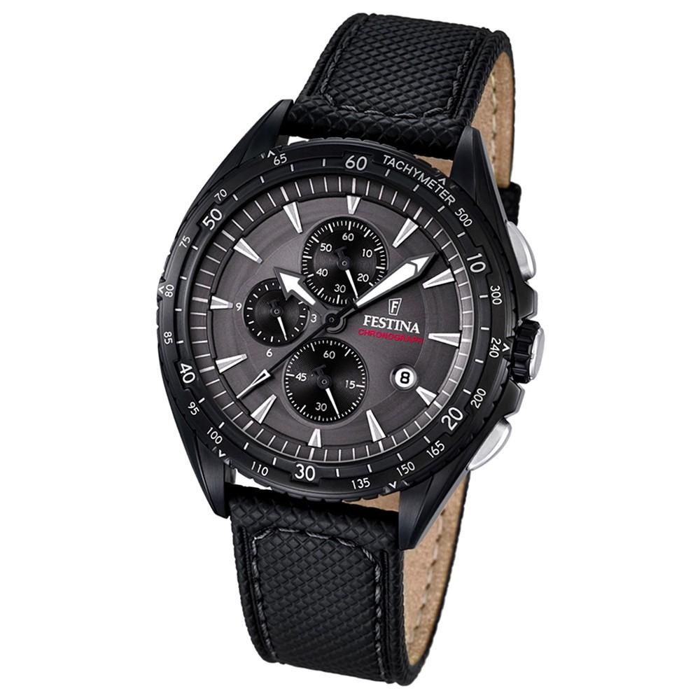 FESTINA Herren-Uhr Sport Analog Quarz Leder schwarz Chronograph UF16847/2