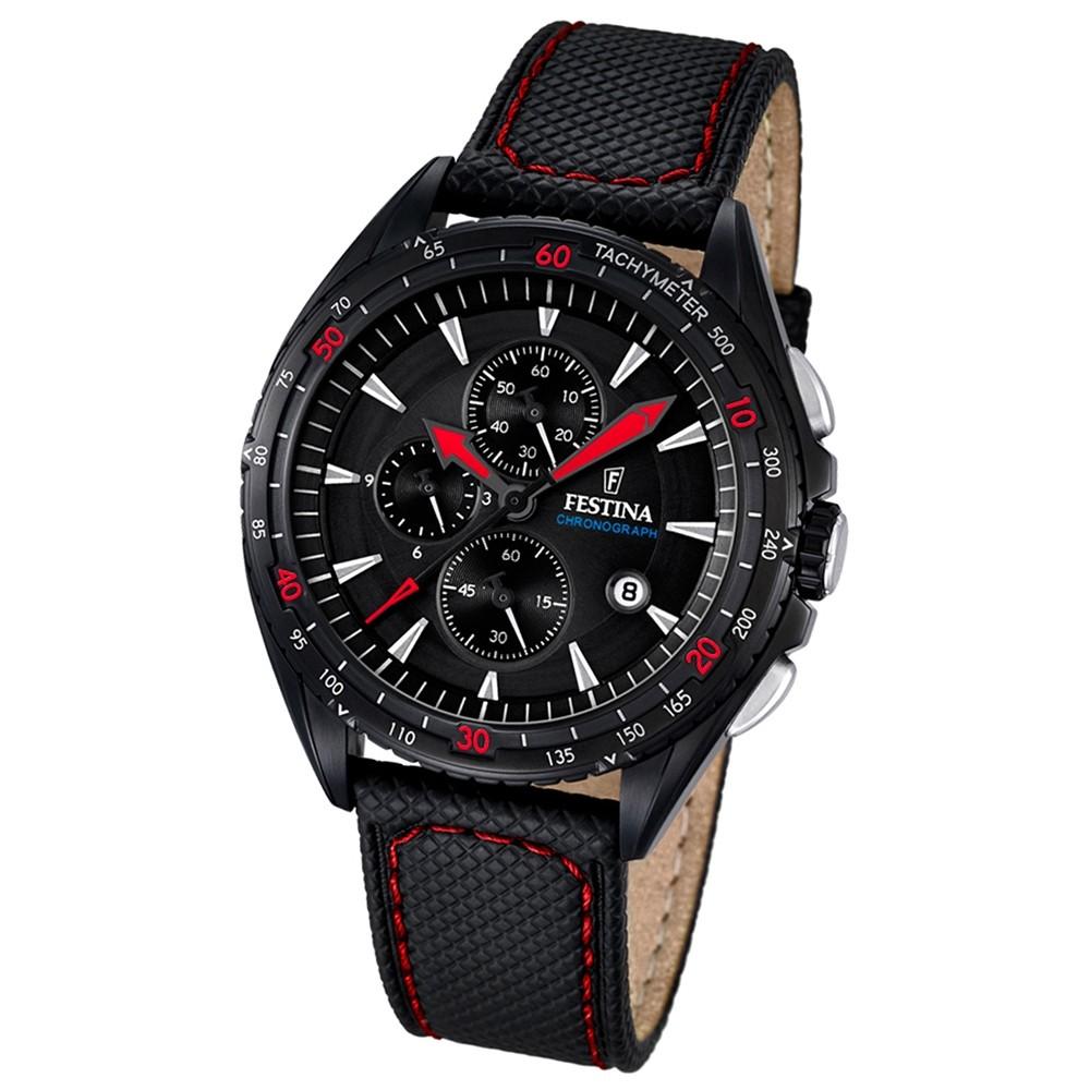 FESTINA Herren-Uhr Sport Analog Quarz Leder schwarz Chronograph UF16847/4
