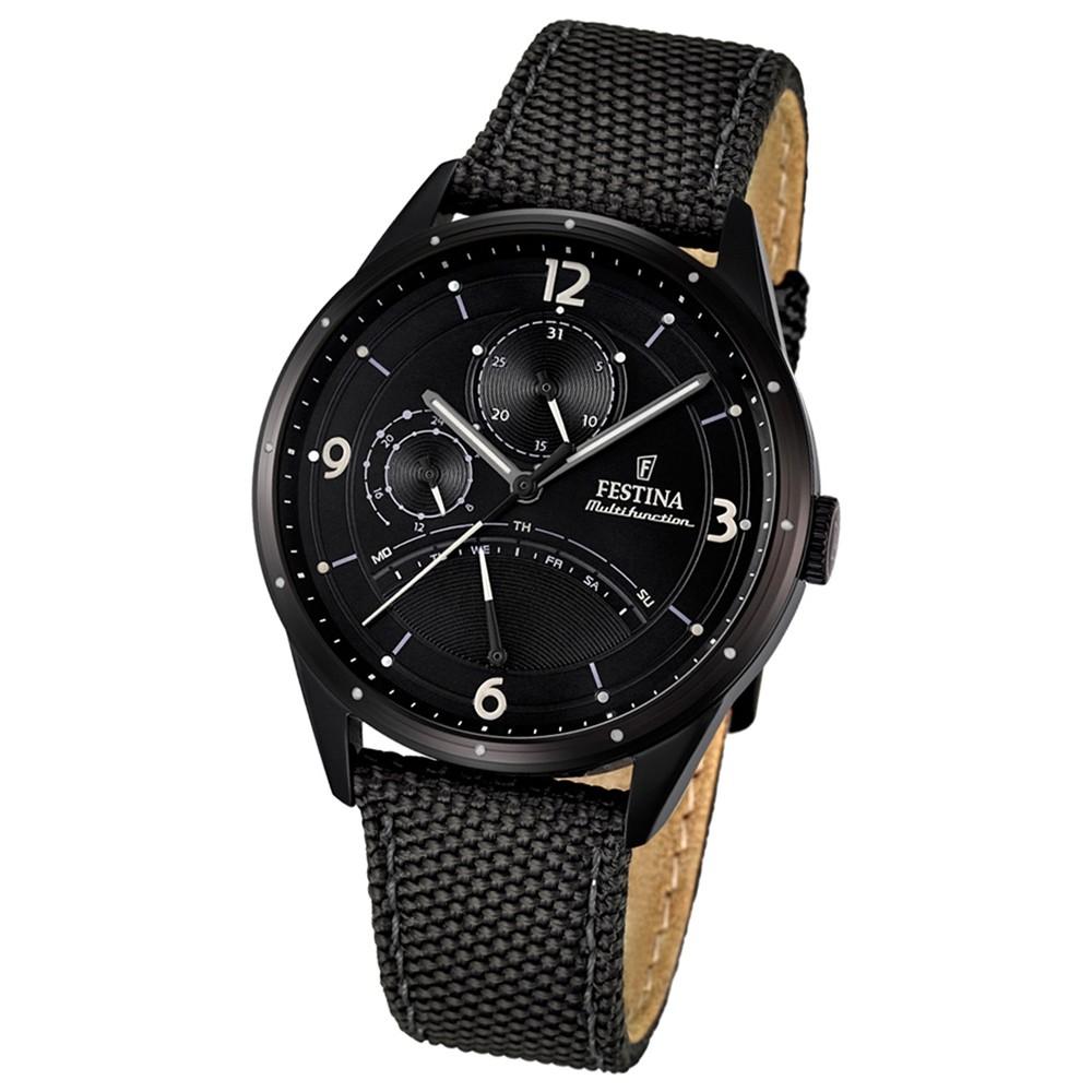 FESTINA Herren-Armbanduhr Retrograde Analog Quarz Leder/Textil schwarz UF16849/3