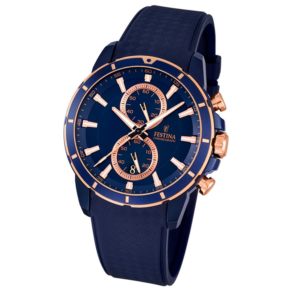 FESTINA Herren-Armbanduhr Chronograph Sport Chronograph Quarz PU blau UF16851/1
