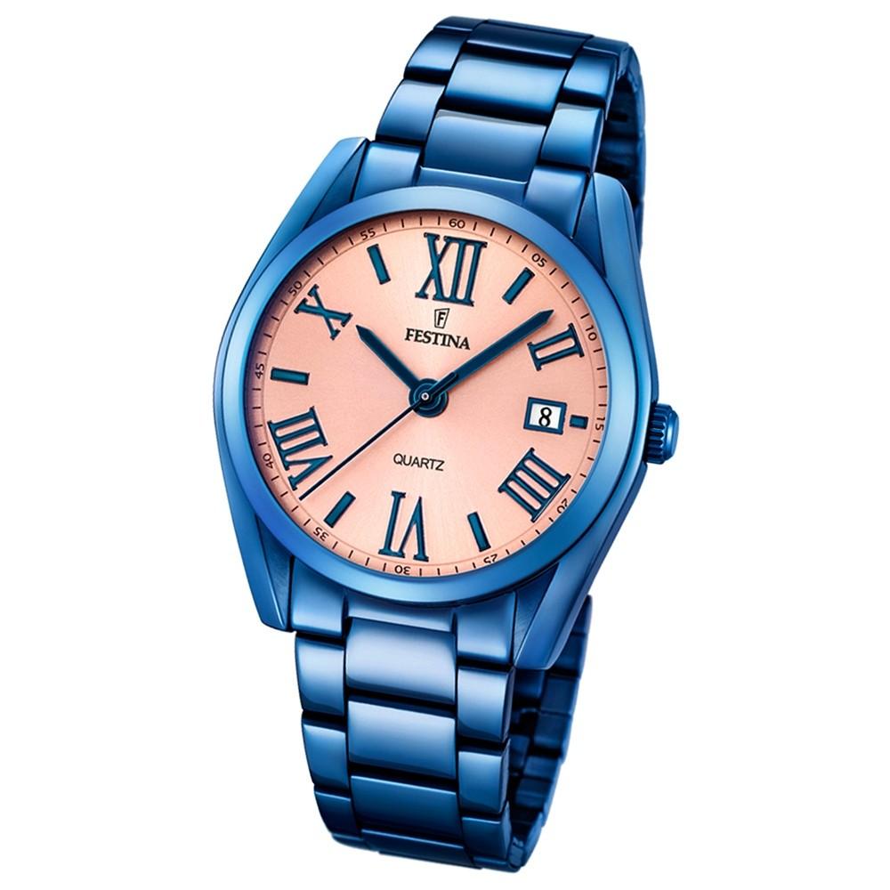 FESTINA Damen/Herren-Armbanduhr Boyfriend Analog Quarz edelstahl blau UF16864/1